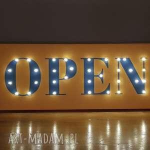 świecący napis open, obraz led, dekoracja butiku, sklepu, pubu, restauracji