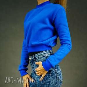 Krótka bluza dresowa chabrowa- Sweet Royal, dresowa-bluza, krótka-bluza, luźna-bluza
