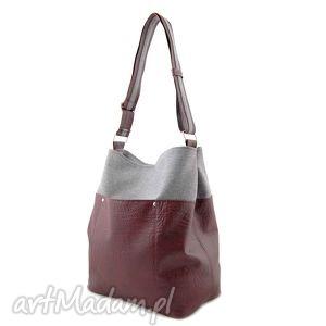 Frida - torba worek burgund i szara plecionka na ramię incat