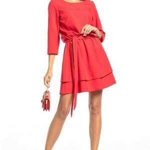 elegancka sukienka z podwójną spódnicą, t320, malinowa, elegancka