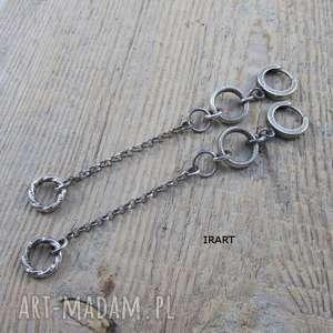 Długie kolczyki z kołami, srebro, oksydowane, długie,