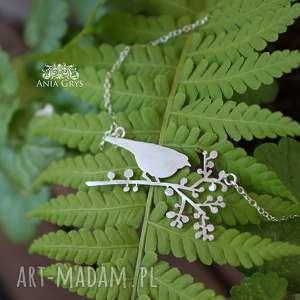 Sikorka, ptaszek, srebrny, naszyjnik, aniagrys, gwiazdoo