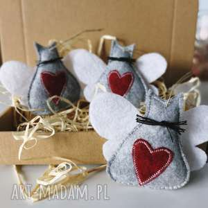 zapętlona nitka kocie bombki - świąteczne zawieszki, kotek