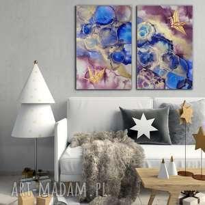 - złote żurawie abstrakcja ręcznie malowana, obraz do salonu prezent, pod