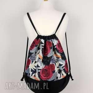 plecak worek kot w kwiatach - ,plecak,worek,kwiaty,kot,kotek,