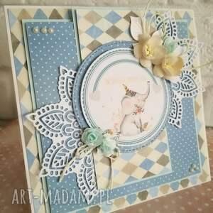 Kartka urodzinowa ze słonikiem, słonik, dziewczynka, urodziny, kartka, kartki