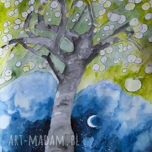 Grafika akwarelą i piórkiem Antonówki , grafika, rysunek, drzewo, jabłka, owoce