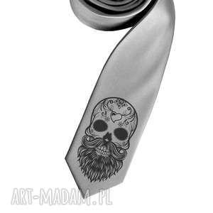 hand-made krawaty krawat z nadrukiem - czacha brodą