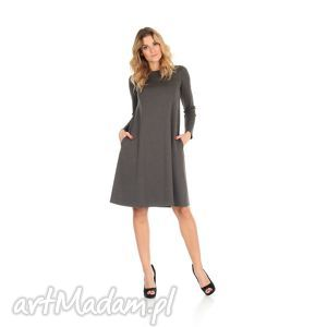 2-sukienka rozkloszowana c.szara,długa, lalu, sukienka, dzianina,