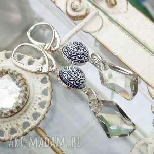 ekskluzywne ręcznie robione kolczyki - srebro, mozaika i kryształ