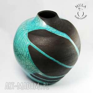wazon raku rozlany turkus - ceramika, wazon, raku, kwiaty