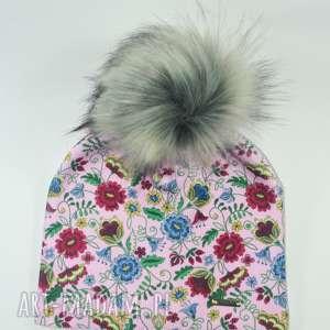 czapka beanie pompon z futra - kwiaty, czapa, czapka, nadruk, pompon, jenot