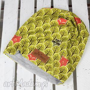 czapka w lisy lis - czapka, beanie, ciepła, prezent, lis, szop