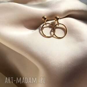 kolczyki - koła, złoto, kolczyki, sztyfty, biżuteria