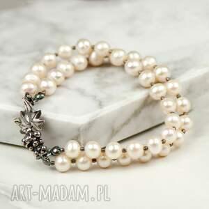 handmade srebrna bransoletka z perłami a628