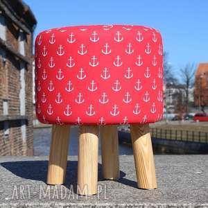 ręcznie robione pufa czerwone kotwice - 36