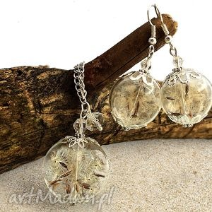 komplet biżuterii z nasionami dmuchawca - dmuchawiec, naszyjnik, kolczyki