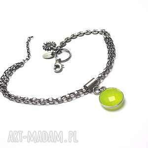 oczko lime - bransoletka - agat, srebro, łańcuszki