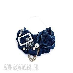 denim naszyjnik handmade - naszyjnik, denim, jeans, niebieski