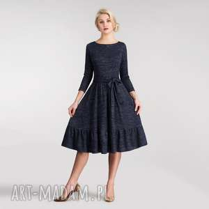 sukienki sukienka olga 3/4 midi melanż granat, sukienka, midi, pasek