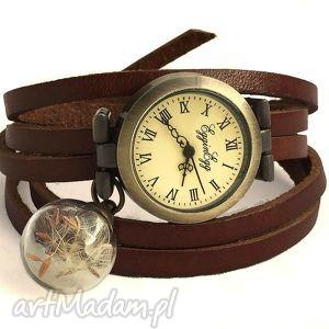 handmade zegarki nasiona dmuchawca - zegarek/bransoletka na skórzanym pasku