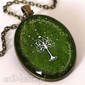 drzewo gondoru - owalny medalion z łańcuszkiem - drzewo, władca