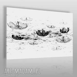 Obraz na płótnie - NENUFARY CZARNO-BIAŁY 120x80 cm (68301), nenufar, minimalizm