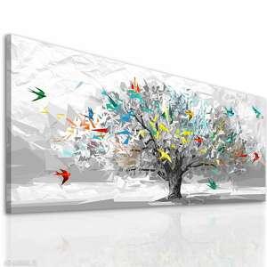 obraz drukowany na płótnie - świat origami abstrakcyjne drzewo 150x60cm
