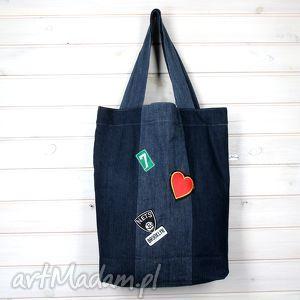 Prezent Torba dżinsowa z naszywkami, torebka, naszywki, aplikacje, prezent, pojemna