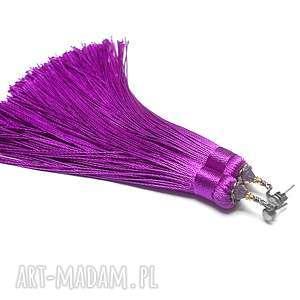 maxi boho /purple vol 3/ - kolczyki, chwosty, boho, długie, srebro, kryształki