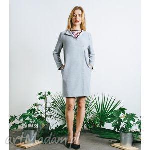 płaszcz wiosenny szary - płaszcz podszewka, prosty, minimalistyczny, klasyczny