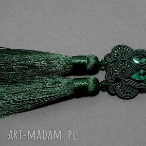 Zielone klipsy sutasz sisu sznurek, eleganckie, wiszące