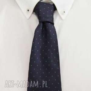 Krawat regular #26, jedwab, granat, groszki, dodatki