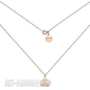 Naszyjnik z różowego złota z koroną - ,naszyjnik,korona,różowe,złoto,modowy,trendy,
