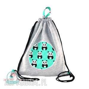 Worek-plecak wodoodporny z dresu pandy, kapcie, plecak, przedszkole, worek, szkoła