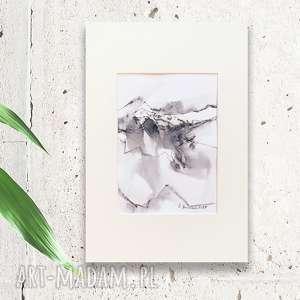 czarno biały rysunek z górskim pejzażem, nowoczesny rysunek, widok góry obrazek