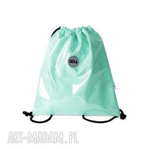 plecaki plecak sznurkowy mint, plecak, do-szkoły, pojemny, elegancki, na-wycieczkę