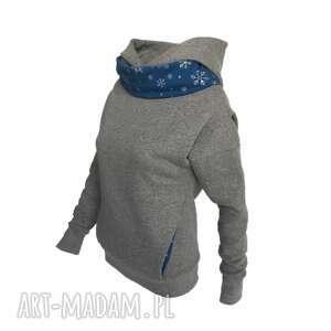 Bluza z kominem i kapturem śnieżynki , bluza-z-kapturem, bluza-kominem, ciepła-bluza