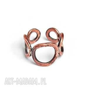 pierścionek z miedzi, lutowany srebrem, miedziany pierścionek, regulowany