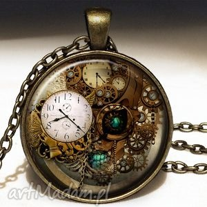 steampunk - duży medalion z łańcuszkiem - steampunk, mechanizmy, zegary