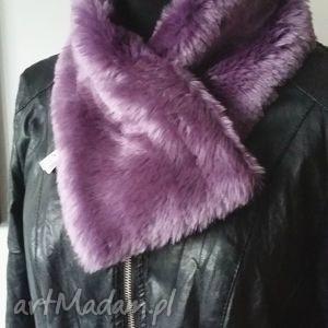 handmade szaliki fioletowy szalik z futra