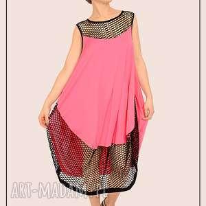 Różowa sukienka z czarną siatką , neon, siatka, przezroczysta, sportowa