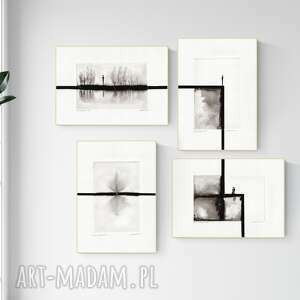 zestaw 4 grafik 21x30 cm wykonanych ręcznie, grafika czarno-biała, abstrakcja