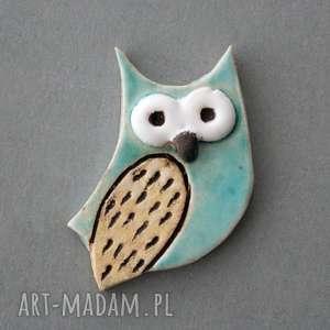 mądralińska-broszka ceramiczna - mądra, sowa, prezent, minimalizm, jeansy