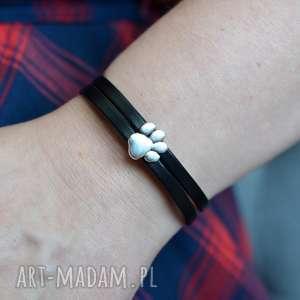 bransoletka skórzana magnetoos dual paw czarna, bransoletka, ze skóry, łapa