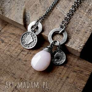 naszyjniki 2 srebrne- z zawieszkami i opalem, zawieszkami, kółeczkami