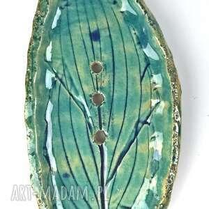 mydelniczka podłużny liść, ręcznie robiona mydelnicz, ceramiczna