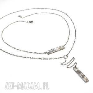 naszyjniki alloys collection - grey marble /08-05-19/, stal, szlachetna, żywica