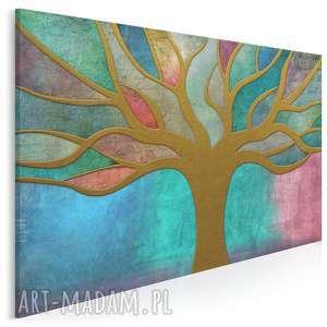 obraz na płótnie - drzewo witraż 120x80 cm 36101, drzewo, witraż, kolorowy
