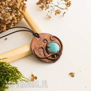 Prezent Wisior medalion z błękitną ceramiką, wisior, wisiorek, medalion, ceramika